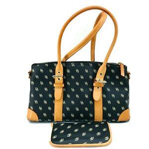 Dooney & Bourke Blue Tan Leather Satchel Handbag Purse Glasses Holder Purse Bag