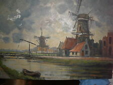 """Oil / Canvas: """"Dutch Canal Scene with Windmills & Boats"""" signed L.C.SchippersWOW"""