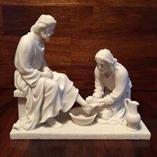 Jesus Christ Washing His Disciple's Feet Sculpture White Statue RELIGIOUS DECOR