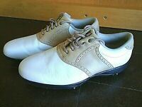 Footjoy Golf Shoes Women's Size 8.1/2 Golfers Spikes Soft White Tan Leather Lace