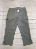 Eddie Bauer Womens Flat Front Regular Fit Ankle Stretch Gray Cropped Pants Sz 2