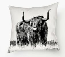 Highland Cow Black & White Photo Throw Pillow, Double Sided Highland Cow Cushion