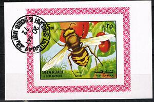 Sharjah Fauna Insects Bee amd Cherries Souvenir Sheet 1972