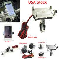 Motorcycle Bike ATV Handlebar Cell Phone Mount Holder USB Charger for Smartphone