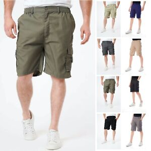 Mens Cargo Shorts Elasticated Waist Plain Knee Length Combat Pockets Zip M-3XL