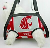 SM PETS: HANDMADE FLEECE WSU COUGAR PRINT NAIL GROOMING MULTI-USE SLING CARRIER