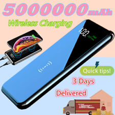 US 5000000mAh Power Bank 2USB Qi Wireless Fast Charger Portable External Battery