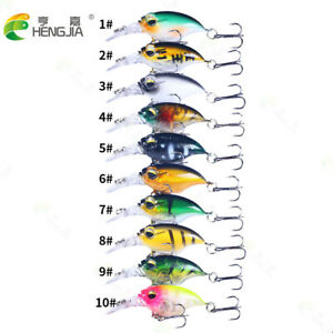 6cm/6.2g Bait Fishing Lure Floating Minnow Lures Artificial Lure 0.5-1.5M 10Pcs