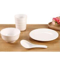Melamine Dinnerware Set of 4 Dish Plate Bowls Spoon Service Kitchen White #1