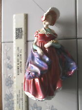 """VINTAGE ROYAL DOULTON LADY APRIL FIGURINE HN 1958 7"""" TALL RED FIGURE WITH HAT"""