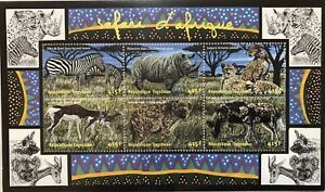 TOGO WILD ANIMALS STAMPS SHEET 2001 MNH AFRICAN WILDLIFE CHEETAH RHINO DOG ZEBRA