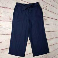 J. Crew Womens Navy Blue Wide Leg Cropped Pants Size 14 Linen Tie Waist NWT $69