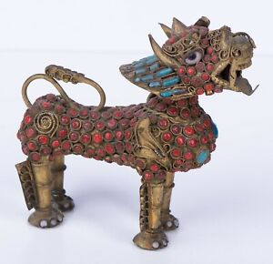 Chinese Dragon Brass Censer Turquoise and Coral