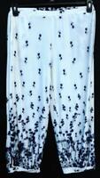 Simply aster white blue metallic floral side slit women's plus size pants 1X