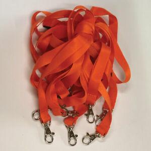 Orange Lanyards | Lanyard Neck Strap | Safety Breakaway | Metal Clip | Pack of 5