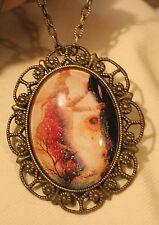 Dainty Scallop Rim Brasstn Peach & Vined God of Harvest Pendant Necklace Brooch