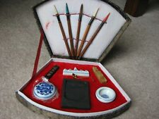 Vintage Japanese Calligraphy Tool Set Ink Stone Stick Pottery Cup Set