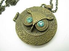 DARK BRONZE Chain Necklace COOL OWL LOCKET PENDANT Green RHINESTONE EYES VTG
