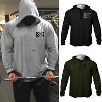 Men's GYM Small Beast Print Bodybuilding Workout Raglan Hoodies Sweatshirts