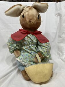 Vintage EDEN Toys Bunny Rabbit Mrs. Bunny Christmas Party Plush Beatrix Potter