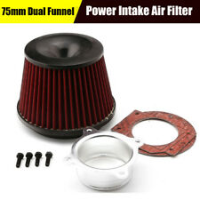 Universal 75mm Dual Funnel Air Cleaner Power Intake filter & adapter