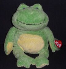 2010 Ty Pluffies Green Yellow Ponds The Frog Plush Stuffed Animal Beanie