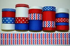 """21 YDS GROSGRAIN RIBBON LOT """"INDEPENDENCE DAY JULY 4TH PATRIOTIC DAY"""" CHEVRON P9"""