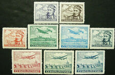 Czechoslovakia, 1946-47 Air Post, Scott C19-27, 9 Stamps, MNH