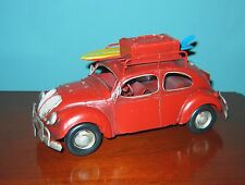 "VW Beetle Bug 9 1/2"" Long SURFER MODEL- Tin Model  LOVE, PEACE and WOODSTOCK!"