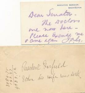 James Garfield- Historical Signed Initialed Note on an Executive Mansion Card