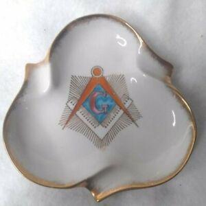 Porcelain Masonic Ashtray Gold Trim Masonic Plate Decor