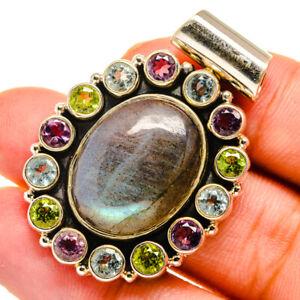 "Labradorite, Blue Topaz, Amethyst, Peridot Silver Pendant 1 1/2"" Jewelry P10955F"