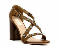 VALENTINO GARAVANI Brown Rockstud Cross Strap Sandals Pumps size 36/6 MSRP $1045