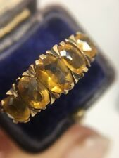 Stunning Victorian Antique Large Citrine Five Stone Yellow Gold Ring