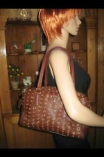 Authentic PRADA Vitello Daino Gold Grommet Brown Leather Satchel Handbag MINT