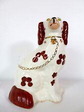 ANTIQUE Vtg STAFFORDSHIRE SPANIEL DOG Ceramic Figurine ENGLAND ART POTTERY #2