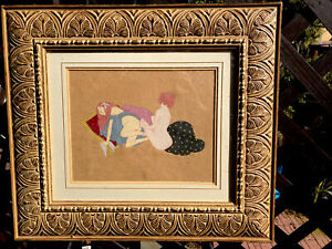 Antique French Erotic Gouache  Painting, Circa 1920