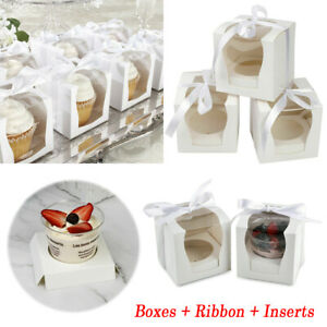 12Pcs Single Individual Cupcake Boxes Cup Cake With Display Window Cup Cakes