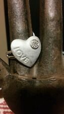 """Heart Ring With """"LOVE"""" and Small Diamond Sterling Silver 925 Size 7.5"""