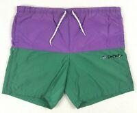 Vintage Nautica Swim Trunks Mens Size M Colorblock Green Purple Sailing Boating