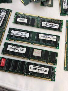 256MB  - LOT OF 2 pc's 128MB PC-100 PC100 MEMORY SDRAM Samsung IBM Micron Dimms