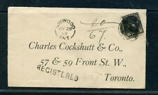CANADA 1897 registered envelope to Toronto franked 8c small Queen tied killer cd