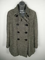 WOMENS DEBENHAMS BLACK/WHITE BUTTON UP DOUBLE BREASTED WOOL BLEND PEA COAT UK 18