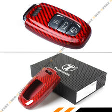 LUXURY RED CARBON FIBER SNAP ON CASE FOR AUDI A3 A4 A5 A6 A7 S5 S7 RS TT KEY FOB