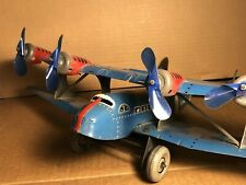 "RARE Marx | 14"" Tin US Mail Biplane Airplane | Blue Version | Motor works"