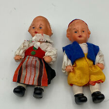 "Vintage Edi Germany Jointed Celluloid 3"" Boy & Girl Doll with Original Clothes"