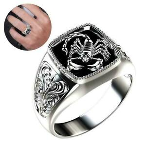 Men Vintage Alloy Carving Scorpion Ring Crystal Punk Biker Rings HOT
