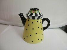1998 Mary Engelbreit Enesco Yellow & Black Dot Teapot Taper Candle Holder 5�