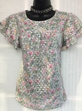 BNWT NEW LOOK 10 pastel pink floral double frill short sleeve tunic top blouse