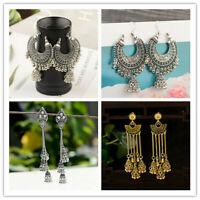 Women Gold Silver Tassel Bells Drop Gypsy Indian Jhumka Ethnic Earrings Jewelry